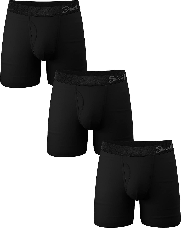 Shinesty Solid Black Boxer Briefs w/Fly 3 Pack - Men's Pouch Underwear XX-Large Black