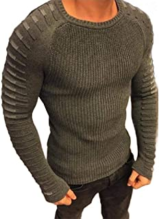 Winwinyou Mens Slim-Fit Basic Knitted Jumper Crew Neck Pullover Sweater Tops
