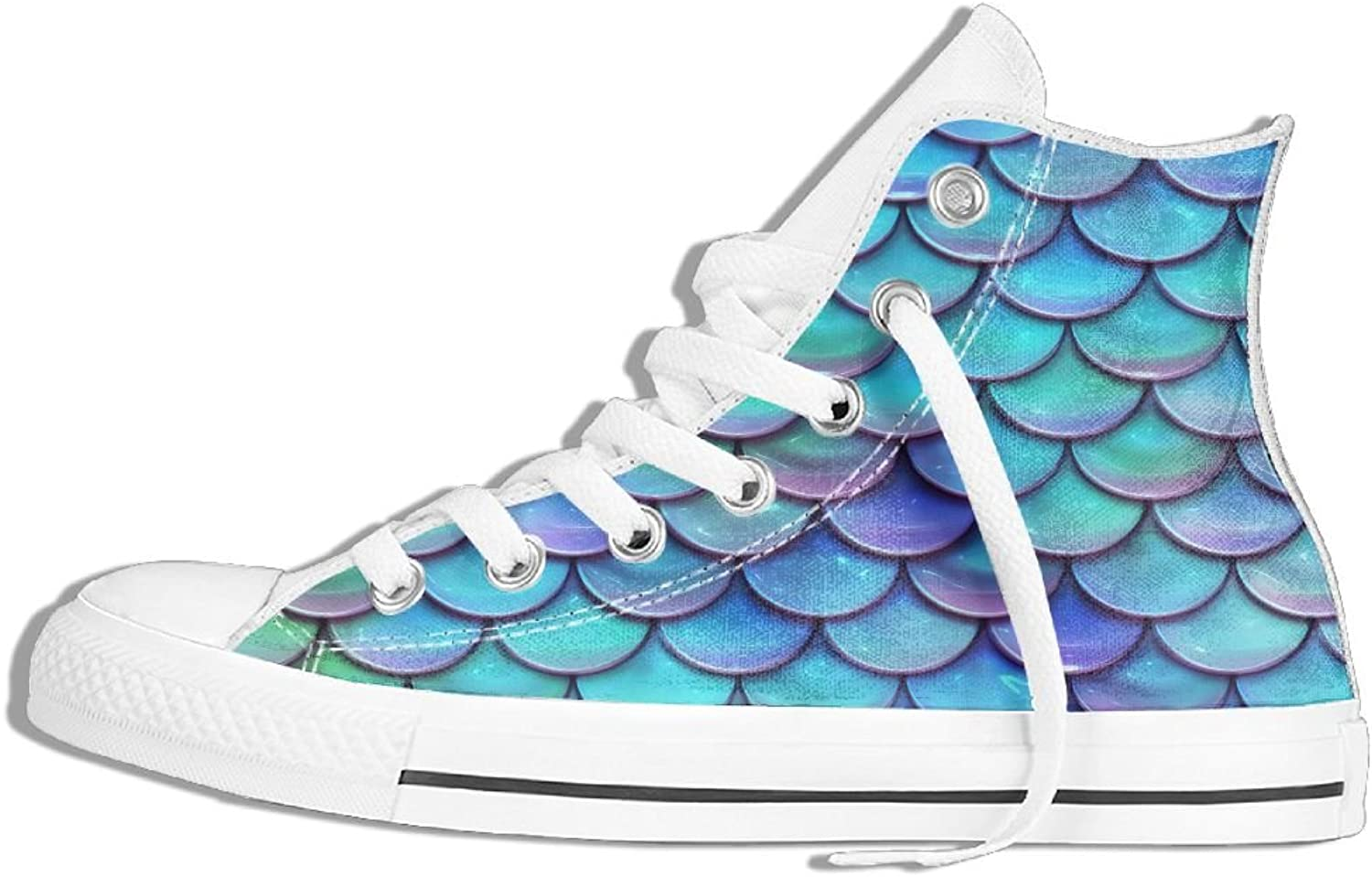 Womens High-Top Canvas Sneakers Mermaid Scales Pattern Flat Anti-slip Sports Trainers shoes