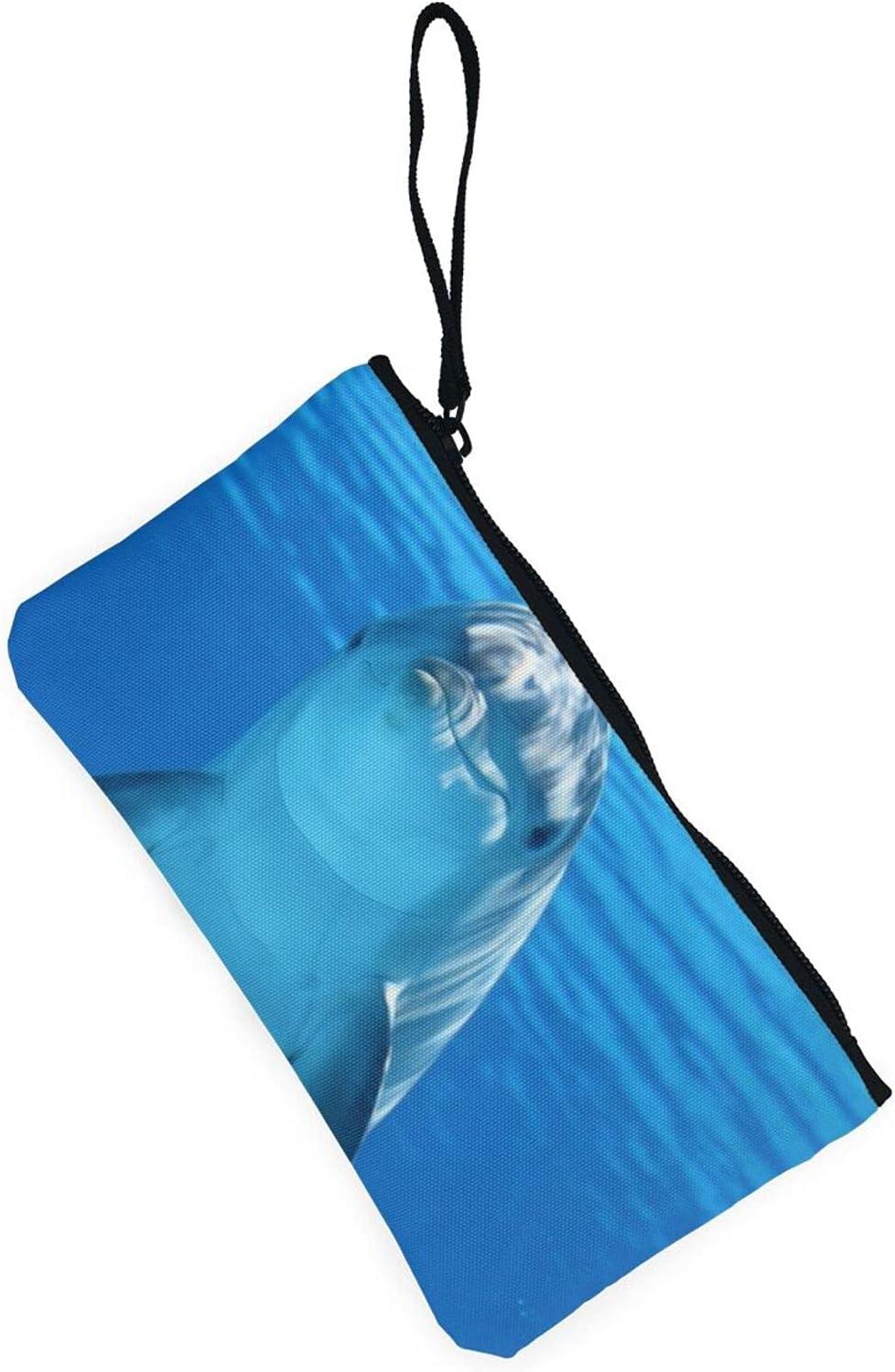 AORRUAM Blue ocean dolphin Canvas Coin Purse,Canvas Zipper Pencil Cases,Canvas Change Purse Pouch Mini Wallet Coin Bag
