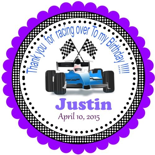 """40 Personalized Boy Car Racing Stickers, 2"""" Round, Labels, Birthday Stickers, Custom Hangtags, Party Favors Labels, Cupcake Toppers, Choice Of Size"""