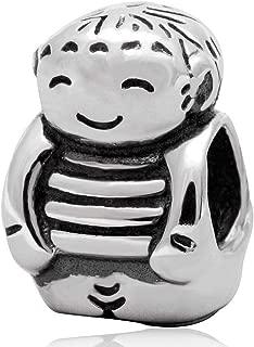 Smile Boy Charm 925 Standard Sterling Silver Child Charm Birthday Charm Baby Charm For Charm Bracelet Necklace