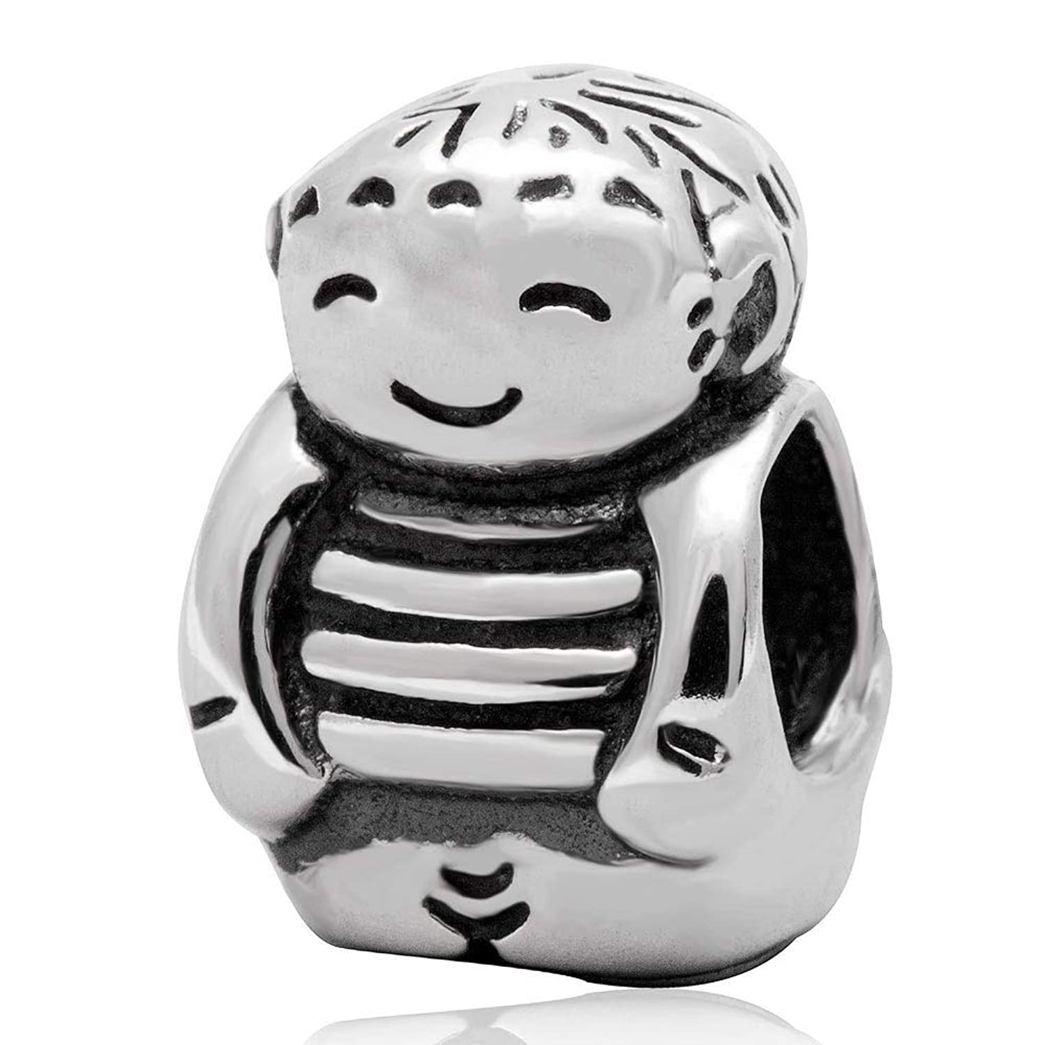 Smile Boy Charm 925 Standard Sterling Silver Child Charm Birthday Charm Baby Charm For Charm Bracelet Necklace