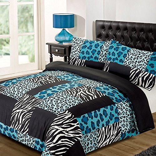 Dreamscene Luxurious Reversible with Leopard and Zebra Print Duvet Set, Polyester, Black/Teal, Single