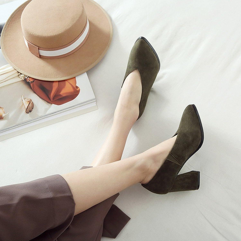 DHG Faule Schuhleder-Schuhfrauen des Frühlingsfrühling-Hohen Absatzes Scheuern Raues mit OL-Schuhen,Army Grün 5cm mit,35  | Treten Sie ein in die Welt der Spielzeuge und finden Sie eine Quelle des Glücks
