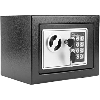 Modrine Security Safe - Digital Safe, Electronic Steel, Fireproof Lock Box with Keypad to Protect Money, Jewelry, Passports for Home, Business or Travel Black (Black)