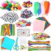 WuikerDuo, set di materiali creativi per bambini, include colla glitterata, pompon, pulitori per tubi, bastoncini per ghiaccioli per bambini e bambini #1
