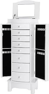 SONGMICS Meuble à tiroir pour Bijoux, avec Miroir intérieur, Grande capacité, Velours, 8 Tiroirs, Style Nordique, Panneau ...