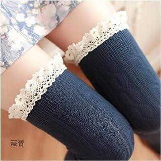 ZhiGe Mujer Calcetines hasta la Rodilla,3 Pares de Calcetines de Encaje Mujer Muslo de la Rodilla Medias Calcetines de Manga Alta-Barril
