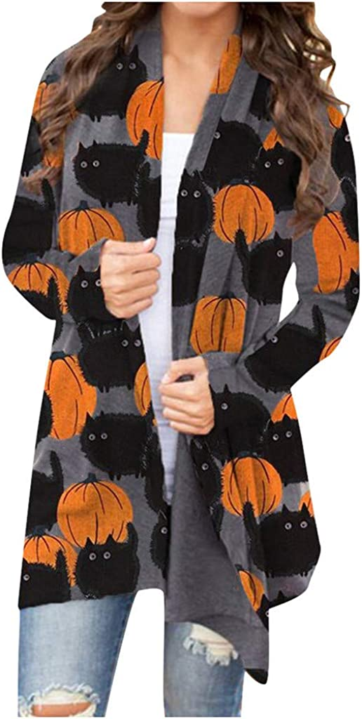 Cat and Pumpkin Cardigan - Plus Size Open Front Loose Fit Mid Length Cardigan Halloween Animal Print Kimono for Women