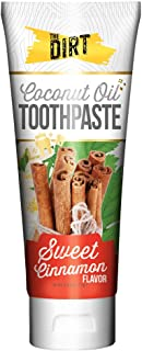 The Dirt Coconut Oil Toothpaste, All Natural with Essential Oils, MCT Oil, Fluoride Free, Sweet Cinnamon, Ten Week Supply 72g
