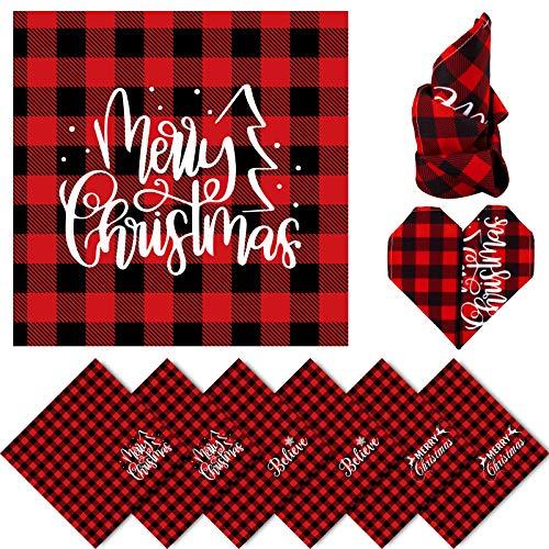 Christmas Cloth Napkins Red Black Buffalo Plaid Placemat