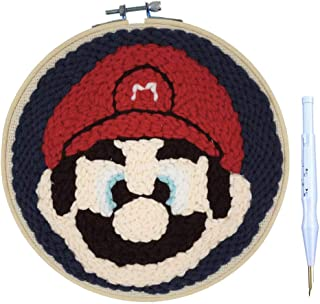 Wool Queen Mario Punch Needle Kit   Cartoon   Game Rug-Punch Beginner Kit, with an Adjustable Embroidery Pen and 8.0'' Bamboo Hoop