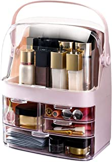 Makeup Cosmetic Organizer Large Acrylic Box Cosmetics Storage Display Holder with Transparent Drawers,Portable Handle,Full...