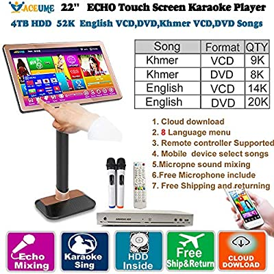 4TB HDD 52K Khmer/Cambodian VCD,DVD Songs,English VCD,DVD Songs 22'' Touch Screen Karaoke Player,Microphone Port,ECHO Mixing,Multilingual Menu,Multi-Way Seletc Songs, Remote Controller and Free Micro