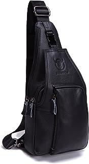 Men Genuine Leather Chest Bag, Crossbody Shoulder Bag Sling Bags Backpack Messenger Bag Daypack For Business Casual Sport Hiking Travel Black