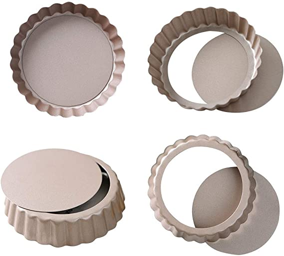 Bakerdream Round Non-stick Tart Pan Quiche Pan with Removable Bottom Mini Tart Pan Pie Pan with Loose Bottom