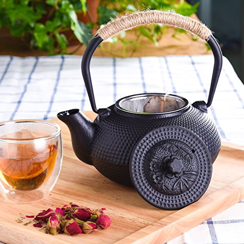 TOWA Workshop Japanese Tetsubin Cast Iron Teapot Tea Kettle pot with Stainless Steel Infuser for Stovetop Safe Coated with Enameled Interior,Black 22 oz