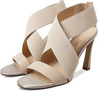 YNXZ-SHOE Ms. High Heels Round Head Sandals, Fashion Ideas Comfortable Rubber Sole, Non-Slip/Breathable, Black/Beige 34-39 Yards (Color : Beige, Size : 37)