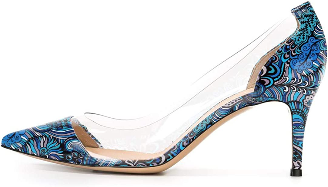 SAMMITOP Cheap bargain Max 83% OFF Women's 65mm Pointed Toe Mid Heel Pumps Transparent Dre
