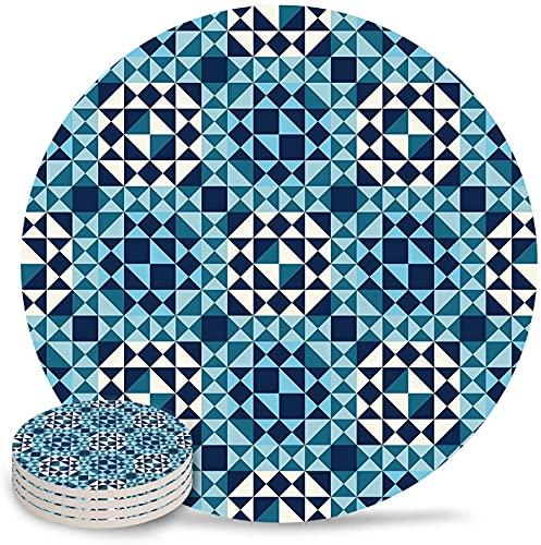 Posavasos de cerámica, juego de 4, triángulos geométricos abstractos y mosaico, diseño azul turquesa, piedra absorbente, posavasos de cerámica con respaldo de corcho para tipos de