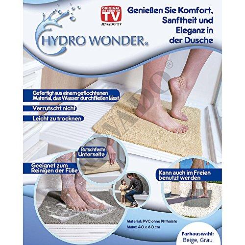 JEWADO Hydro Wonder Anti-Rutschmatte für Bad und Dusche Shower Mat 40 x 60 cm in Beige oder Grau - Original aus TV-Werbung! Farbe: Beige
