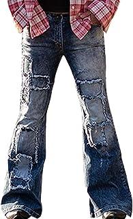 Men's Casual Patchwork Bell Bottom Jeans Retro Low Rise Flared Leg Denim Pants