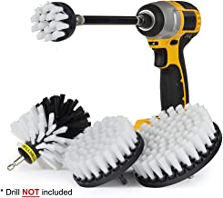 ZLIJUN Soft White Drill Brush Kit with Extension - Car Wash - Cleaning Supplies - Automotive Tire, Wheel - Boat Seat, Carpet, Interior, Upholstery, Vinyl, Fabric, Leather Cleaner