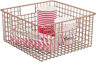 mDesign Farmhouse Decor Metal Wire Food Storage Organizer, Bin Basket with Handles for Kitchen Cabinets, Pantry, Bathroom,...