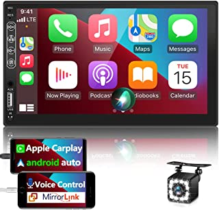 $132 » Double Din Car Stereo Carplay Android Auto 7'' Car Radio Receiver MP5 Player with Bluetooth and Backup Camera,FM/AM, Mirro...