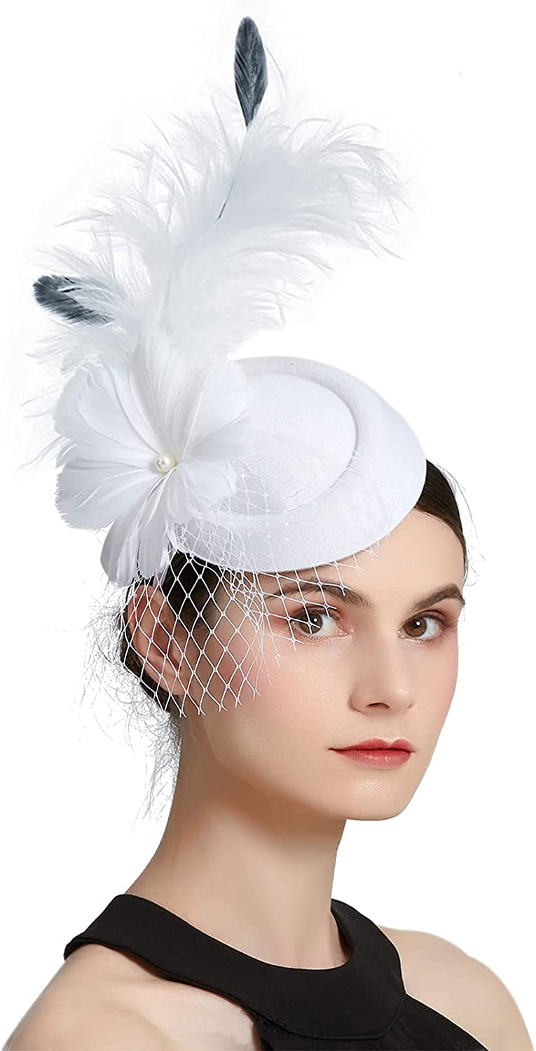 ZX service Sinamay Fascinator Feather Mesh Flower with Clip Derby Hat Max 45% OFF a