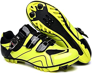 ZMYC Unisex Bike Shoes MTB Lock Cycling Shoes Professional Lightweight Road Shoes, Non-slip Breathable Mountain Bike Sports Shoes (Color : Green, Size : 42)