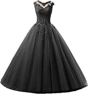 Women's Cap Sleeves Beaded Ball Gowns Long Tulle Appliques Quinceanera Prom Dress