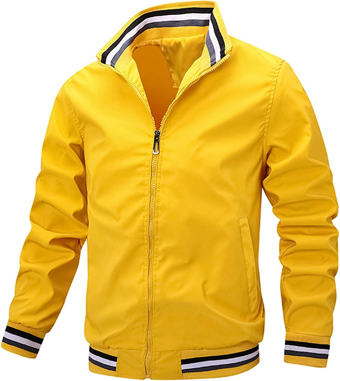 LEIYAN Mens Cargo Military Jackets Zip Up Casual Slim Fit Lapel Collar Softshell Jacket Athletic Sports Hiking Jacket
