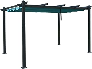 Kozyard Morgan Outdoor 10'x13' Extra Large BBQ Grill Pergola with Sun Shade Gazebo Canopy Beige Canopy,UV Resistant Fabric (10'x13' Blue)