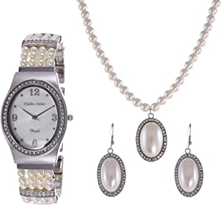 Charles Delon Women's Mother of Pearl Dial Stainless Steel Band Watch & Jewelry Set - 5668 LIMW