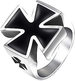 Gungneer Black Templar Knight Cross Ring Stainless Steel Iron Jewelry Gift for Men Women