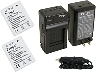 Progo 2 (Two) EN-EL8 Li-Ion Rechargeable Batteries and Pocket Travel AC/DC Wall Charger with Car Adapter & US to European plug for Nikon Coolpix P1, P2, S1, S2, S3, S5, S50, S51, S52, S6, S7, S8, S9 Digital Cameras.