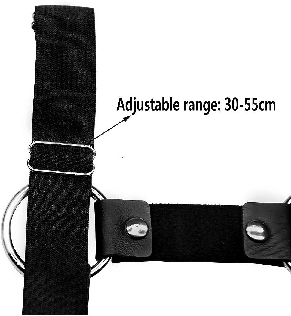 Hxiu Black Adjustable Garter Studded Leg Garter Thigh Garter Harness Garter Belt for Girl,2 Packs