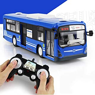Lotee Remote Control Remote School Bus Toy 2.4GHz Electric Toys for Kids6 Channel RC Bus Express City Bus School Bus with Realistic Sounds Light Opening Doors (Color : Blue, Size : 3 Battery Packs)
