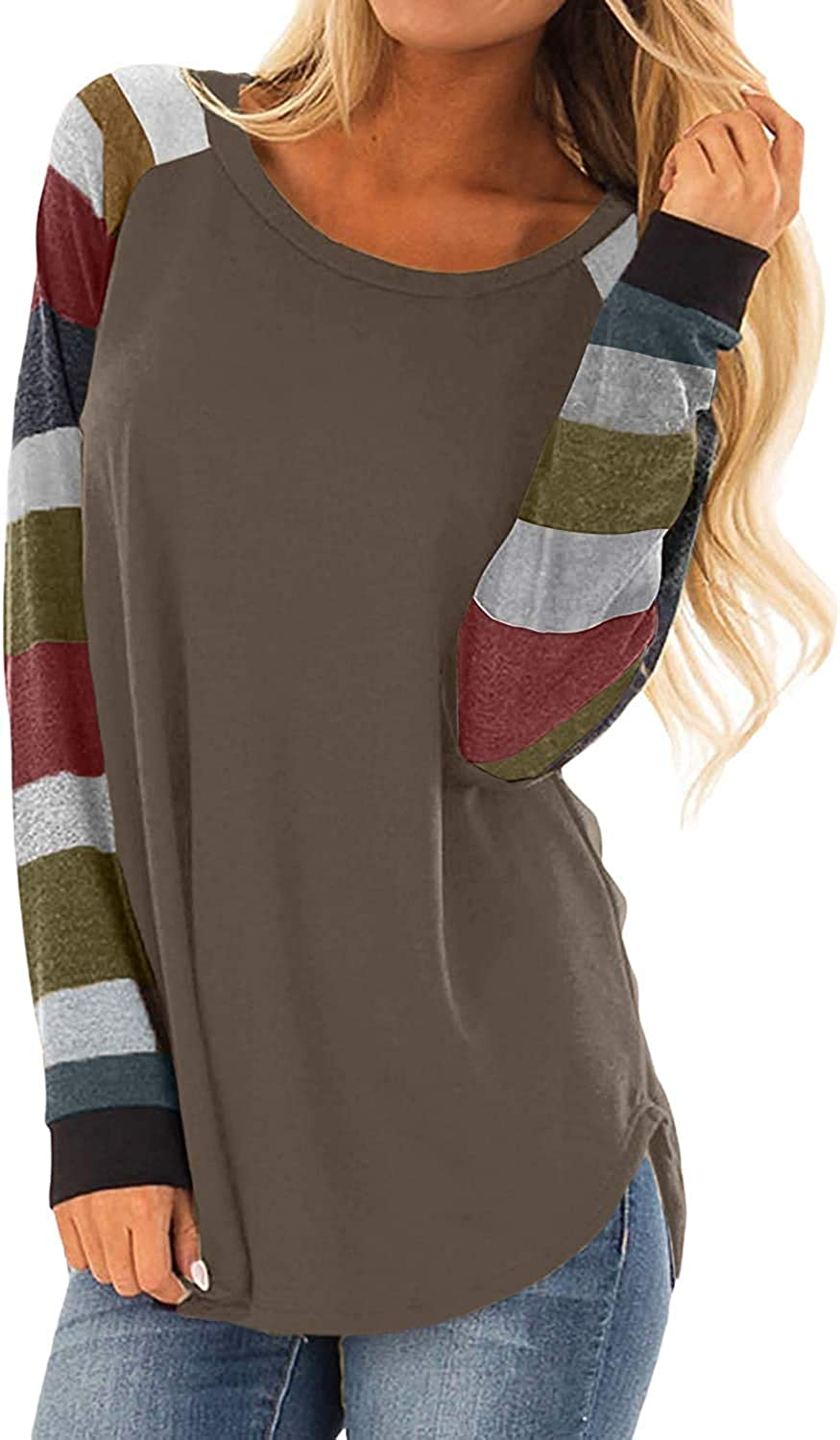 Women's Round Neck Causal Long Sleeve Tops Loose Soft Striped Tunic Blouse Tops