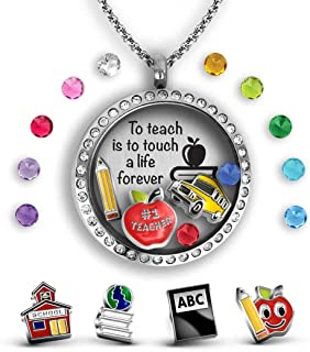 Gifts for Teachers Appreciation | Teacher Gifts for Women | Charm Locket Pendant Necklace