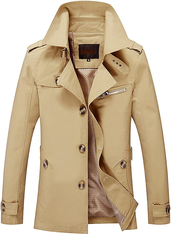 FORUU Men's Winter Jacket 2021 Winter Solid Windbreaker Fashion Turn-down Collar Long Jacket Oversize Casual Trench Coat