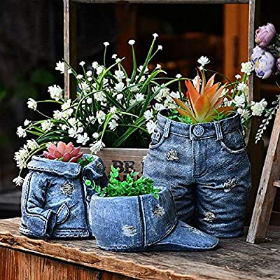Denim Hat Clothes Pants Succulent Planter Pot Decorative 07042021063942
