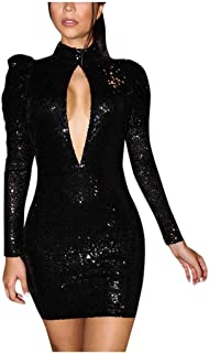 Women Sexy Solid Sequin Mini Dress Long Sleeve Hollow Backless Party Bodycon Cocktail Dress