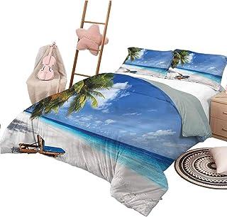 Imprimir Funda nórdica Colchas de Playa de tamaño Completo Colcha Árboles de Playa de Arena Tropical
