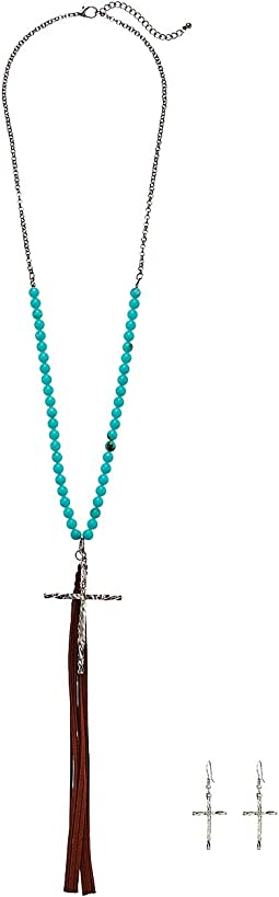 Turquoise Bead w/ Cross & Tassel Necklace/Earrings Set