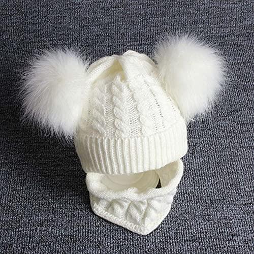 Gorro de bebé recién Nacido, Conjunto de Bufanda, pompón de Dibujos Animados, Gorro de Invierno para bebé niña, Gorro de Invierno para niños, Gorro de Punto cálido para niños y niñas-1set White