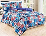 3-Piece Full Size (Double Bed) Nautical Boats Themed Comforter Set Goose Down Alternative Bedding (Purple, Navy, Blue, Red, Orange)