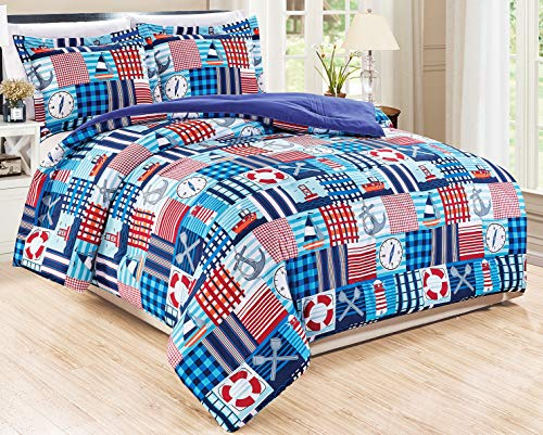 3-Piece Queen Size Nautical Boats Themed Comforter Set Goose Down Alternative Bedding (Purple, Navy, Blue, Red, Orange)
